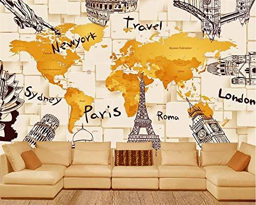 Fiartel Benutzerdefinierte Tapete kreative 3D-Architektur Weltkarte Wandbild TV Hintergrund Wandbild Wohnzimmer Schlafzimmer 3d Tapete-250X175CM