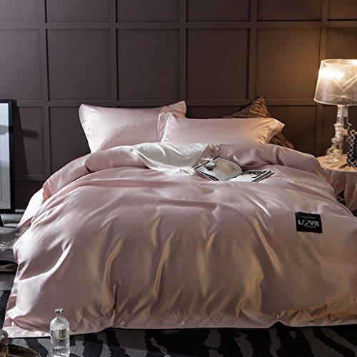 LongYu Quilt Seide Mode Heimtextilien Bettfutter Vierteiliges Set Gewaschen Satin Stickerei Bettwäsche Quilt 4 Sätze -