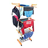 #9: Favour Made in India Life Time Use 3 Tier Mild Stainless Steel Floor Cloth Dryer Stand Racks Hanger (Orange)
