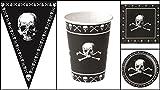 Karneval-Klamotten Set Kindergeburtstag Pirat inkl. Girlande 37 Teile Schwarz mit Totenköpfen
