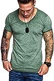 Bequemer Laden Kurzarm T-Shirt Sommer Tees Tops Casual Oversize Herren Vintage T-Shirt Grün L