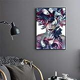 RTCKF Stampa su Tela Ritratto Astratto Ragazza e Pesce Stampa Poster Tela Pittura Decorazioni per la casa Soggiorno Murale A3 50x70cm