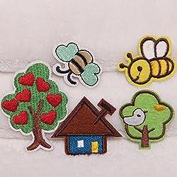 5pcs / set Bee Tree insetti ricamo cuce ferro sul distintivo della zona di Applique Bag in tessuto