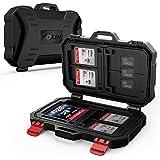 speicherkarten tasche, Rhidon Wasserdicht & Shockproof Schutzhülle für Speicherkarte CF Karten und MicroSD / Sd Cards (Schwarz)