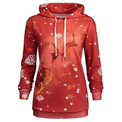 oodies Damen Weihnachtsmann Elch Print Pullover Weibliche Mit Kapuze Lose Slim Fit Sweatshirt Tops Mit Taschen Moonuy ()