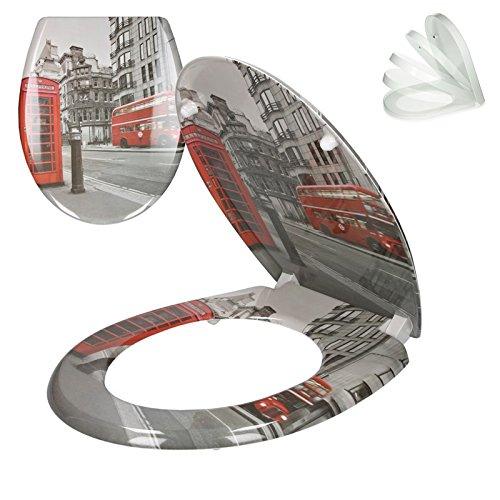 Preisvergleich Produktbild ECD Germany Premium Duroplast Toilettendeckel WC Deckel mit Soft-Close Absenkautomatik & Antibakterielle Beschichtung Motiv London inkl. Montagematerial