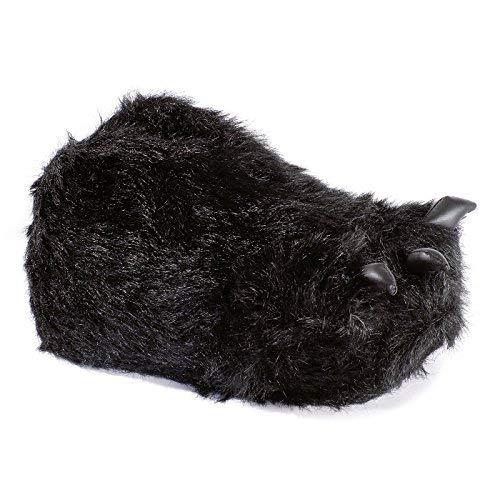 Funslippers Herren Hausschuhe Tierhausschuhe Puschen Pantoffeln Schlappen Krümel Monster Tatze Schwarz Plüsch Warm Gepolstert Sneakersohle XL 45/47 EU (Fuß Hausschuhe Monster)