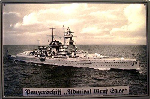 Carro armato nave Admiral Graf von Spee Targa latta Tin Sign visiera metallo 20 x 30 cm - Nave Tin