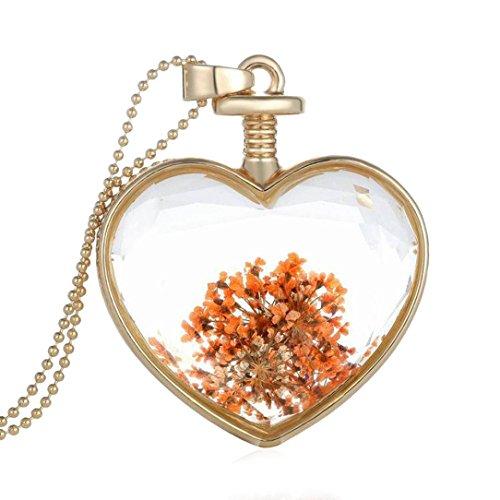 Collar para mujer, FEITONG Mujer flor seca Transparente Cristal Botella de deseo Colgante Collar (D)
