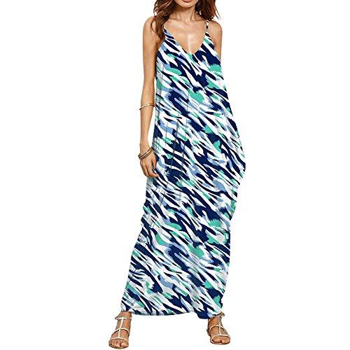 iShine Casual Kleider Damen Lang Maxikleid V-Ausschnitt Sommerkleider Swing Kleid Rückenfreies Kleid Spaghetti Strandkleid damen Partykleider Cocktailkleid B