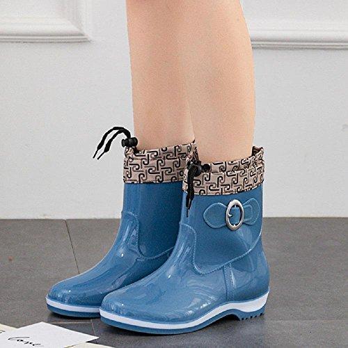 Mme bottes en caoutchouc de la mode ainsi que des bottes de velours Blue