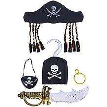 Toyvian 5pcs Disfraz de Pirata de Halloween Prop Set Suministros para Fiestas con Sombrero Parche de
