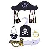 Toyvian 5pcs Disfraz de Pirata de Halloween Prop Set Suministros para Fiestas con Sombrero Parche de Ojo Parche y Anzuelo