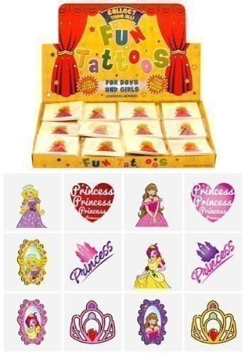Tatouage Temporaire pour Petites Filles - Motif Princesse - 6 Paquets de 12 / 72 au Total- Pour Pochettes Surprise by The Home Fusion Company 0797839112850