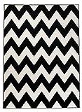Moderner Designer Teppich Zick-Zack Geometrisches Muster - Dichter Und Dicker Flor Modern Designer Muster - Ideal Für Ihre Wohnzimmer Schlafzimmer Esszimmer - Weiß Schwarz - 140 x 190 cm