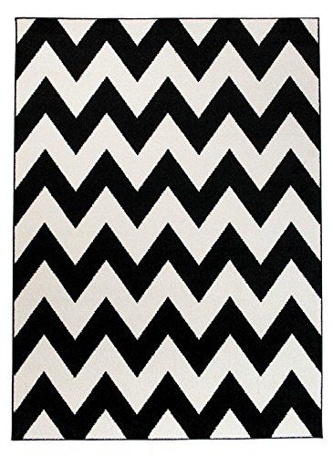 Moderner Designer Teppich Zick-Zack Geometrisches Muster - Dichter Und Dicker Flor Modern Designer Muster - Ideal Für Ihre Wohnzimmer Schlafzimmer Esszimmer - Weiß Schwarz - 120 x 170 cm