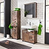 Komplett Badmöbel Set Panamaeiche Waschbeckenschrank 60cm Spiegelschrank mit LED Beleuchtung