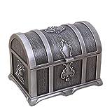 Caja de Joyas de Metal Cofre del Tesoro de Metal Cajas de Almacenamiento Caja de Anillo Mejor Regalo para Niñas Damas Mujeres Rectángulo Pequeño Color de Zinc Antiguo 10 * 7.4 * 7.8cm