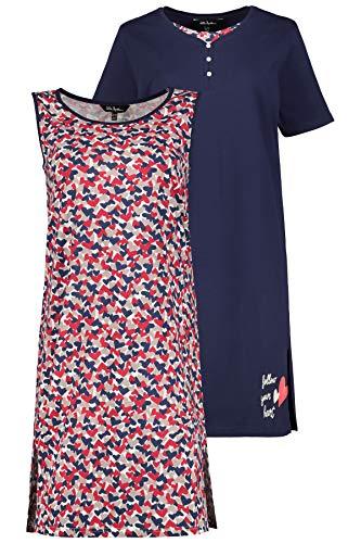 2 Pack Nachthemd (Ulla Popken Damen Big-Shirt 2er Pack, Herzen Nachthemd, Mehrfarbig (Multicolor 90), Herstellergröße: 62+)