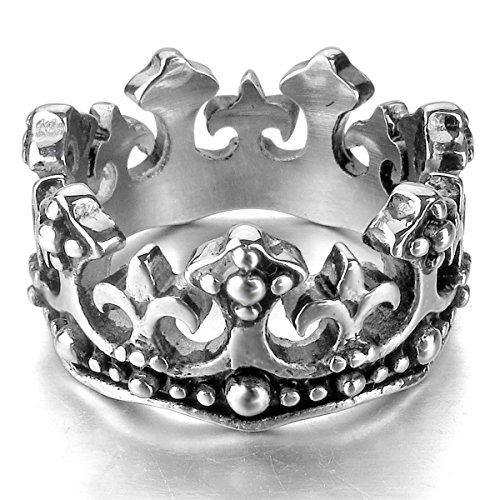 munkimix-stainless-steel-ring-band-silver-black-royal-king-crown-knight-fleur-de-lis-cross-vintage-s