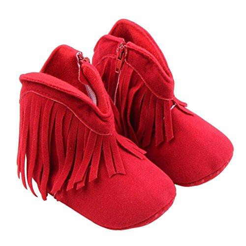 QHGstore Baby Stiefel Quaste Bottom Slip weiche warme Winter-Säuglingskleinkind-Schuhe braun 12cm rot