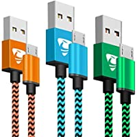 Micro USB Cables 2m/6.6ft Aione Android Cable (3 Pack) Nylon Braided USB Cable- Compatible with Samsung, Nexus, LG, Sony, HTC, Kindle, PS4 Controller and More-Blue, Green, Orange