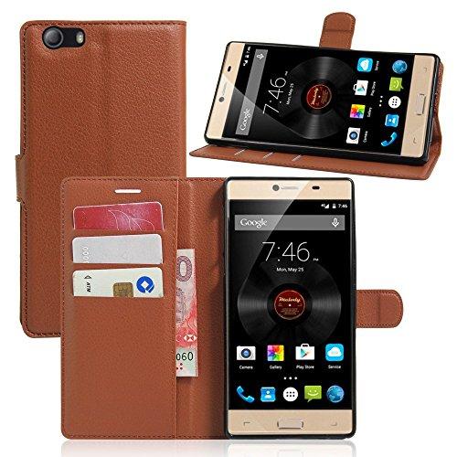 Tasche für Elephone M2 Hülle, Ycloud PU Ledertasche Flip Cover Wallet Case Handyhülle mit Stand Function Credit Card Slots Bookstyle Purse Design braun