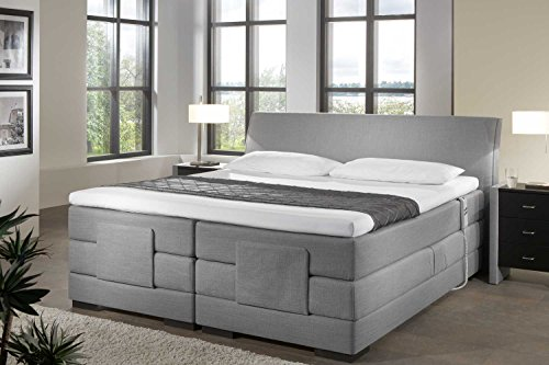 Designer Boxspringbett Mailand, elektrisch verstellbar, Made in Germany, Tonnentaschenfederkern in der Box UND in der 7-Zonen Matratze, Visco Topper, Grau, H2/H3, 200x200cm