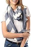STYLE SLICE Damen Schal Goldene Streifen - Blau Grau Creme - Elegant Leicht Gestreift Tuch Tücher Groß XXL Schal - Geschenk Frauen Mädchen - Accessoires Damenmode Britisch