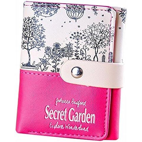 vovotrade Las mujeres Secret Garden monedero Corto Los titulares de tarjetas Monedero del bolso
