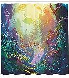 Abakuhaus Duschvorhang, Unberührtes Wildes Unterwasserwasserwelt mit Korallen Exotisches Fisch Sorten Mehrfarbig Druck, Blickdicht aus Stoff mit 12 Ringen Waschbar Langhaltig Hochwertig, 175 X 200 cm
