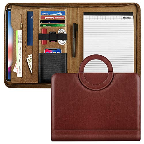 MoKo Zippered Padfolio Portfolio Folder, Portable Handle Professional Business PU Leather Organizer with 11 Inch Tablet Sleeve for iPhone, iPad, Tablets, Notebooks and Documents - Wine Red (Binder Storage Card Business)