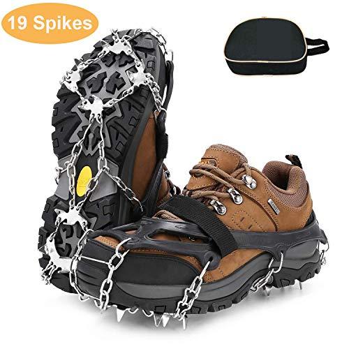 RSWLED Steigeisen für Bergschuhe, Schuhkrallen mit 19 Edelstahl Zähne Anti-Rutsch Spikes, Schneekette, Eisspikes für Winter High Altitude Wandern Bergsteigen auf EIS Schnee (XL)