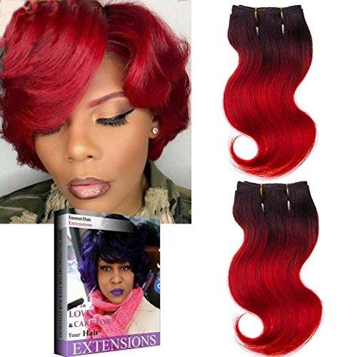 Emmet Extension de Cheveux Brésiliens Ombrés Possible de Boucler et Teindre,8 Inch (20,3 cm) Cheveux Humains Ondulés Facile à Tresser et Fixer,lot de 2 pièces, 50 g/pièce