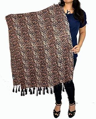 Sanvitta's Leopard Print Viscose Women's Stole Wrap Chocolate