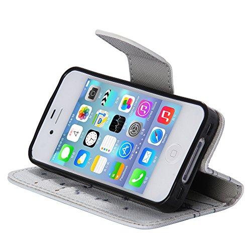 Nancen Apple iphone 6 / 6S (4,7 Zoll) Handy Lederhülle, Flip Case Wallet Cover with Stand Function, Folio Bookstyle Handytasche Soft Silikon Bunte Muster Tasche PU Leder Slim Shell Handyhülle. Grau Dandelion