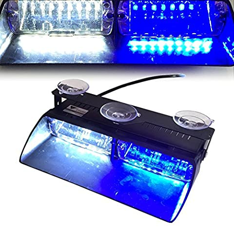 T Tocas(tm) High Intensity 16 LED Law Enforcement Emergency Beacon Hazard Warning Strobe Lights for Vehicle Car Truck SUV Interior Roof / Dash / Windshield with Suction Cups (White-Blue)