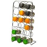 Pisa® Organizador de cocina de soporte de almacenamiento de especias–cromado–METAL FREE standing, 18 Jar Capacity