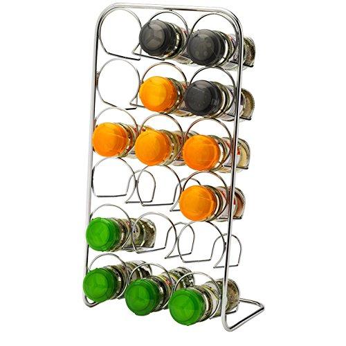 Pisa® Spice Rack - für 18 Jars - Gewürzregal Chrome Aufbockvorrichtung-Küche, Organizer - Metallfreistehend Gewürzgläser 18-Set Gewürzgläser Gewürzregal Set -