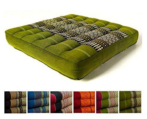 Kapok Sitzkissen 35x35x6,5Cm Der Marke Livasia, Optimal Als Stuhlauflage Oder Meditationskissen, Bodenkissen, Stuhlkissen (Grün)