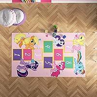Çocuk Odası Oyun Halısı, Kaymaz Tabanlı Halı ve Kilimler, Pony Seksek Desenli Kız Erkek Çocuk Odası Halısı, Bebek Odası Halısı (80x200)