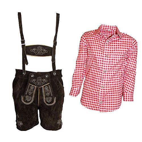 MS-Trachten Trachtenset Kinder Lederhose Trachtenhose mit Hemd (104, rot-kariert)