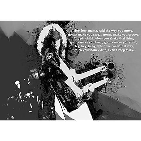 Led Zeppelin-Black Dog-Lyrics-Album fotografico grande in metallo, motivo: Rock Music Band, laminato, 150 micron, dimensioni foto di alta qualità, formato A3