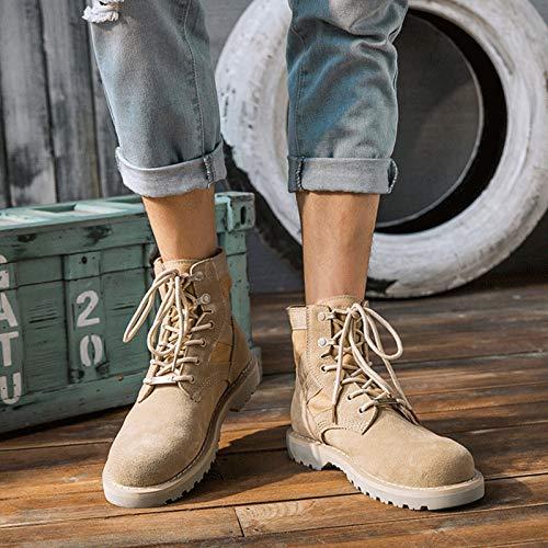Shoes Werkzeugstiefel, Martin Stiefel, Paarmodelle Wüstenstiefel, Kriegswolfstiefel, High-Top-Wildlederstiefel Aus Leder,Beige,38