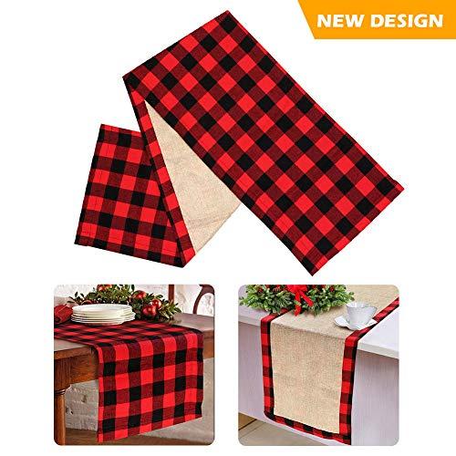 (Aparty4u Tischläufer Weihnachten rotes schwarzes mit Tartan Weihnachten Tstischläufer (Doppelseitig, 37 x 183cm))