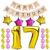 KUNGYO 17. Geburtstag Party Dekorationen Satz-Rosa Happy Birthday Banner, Folienballon 17 in Gold-XXL Riesenzahl 100cm; Stern&Latex Ballon- Süße Alles Gute Zum Geburtstag für Frauen