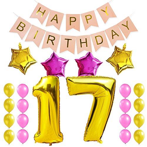 KUNGYO Zum 17. Geburtstag Party Dekorationen Satz-Rosa Happy Birthday Banner, Folienballon 17 in Gold-XXL Riesenzahl 100cm; Stern&Latex Ballon- Süße Alles Gute Zum Geburtstag für Frauen (17 Geburtstag Ballons)