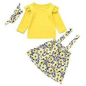 catmoew Mädchen Sets (6M-4T) Kind Lange Ärmel Mädchen Kleidung Einfarbig Top + Blumen Drucken Rock + Haarband Set Kinder Kleider Baby kinderkleidung