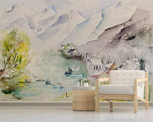 Benutzerdefinierte 3D Wallpaper Wandbild Aquarell Landschaft Blumen Vogel Boot Fototapete Wandbild 3D Wallpaper für Zimmer_280X200CM -