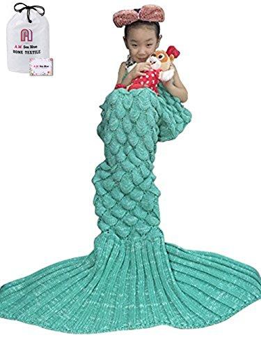 Mermaid Schwanz Strickdecke für Kinder, Häkeln Meerjungfrau Schwanz Decke Gestrickte Schlafsack, All Seasons Fischschwanz Decken Sofa Quilt Perfekt Geschenk - Häkeln Decken